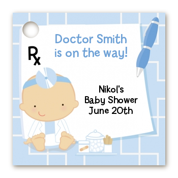 Little Doctor On The Way - Personalized Baby Shower Card Stock Favor Tags Caucasian
