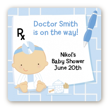 Little Doctor On The Way - Square Personalized Baby Shower Sticker Labels Caucasian
