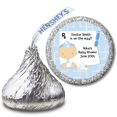 Little Doctor On The Way - Hershey Kiss Baby Shower Sticker Labels Caucasian