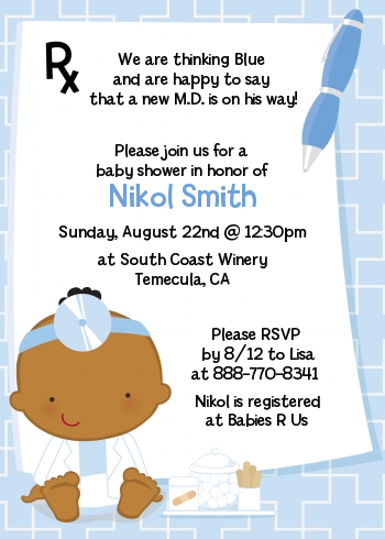 Little Doctor On The Way - Baby Shower Invitations Caucasian