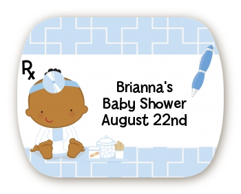 Little Doctor On The Way - Personalized Baby Shower Rounded Corner Stickers Caucasian
