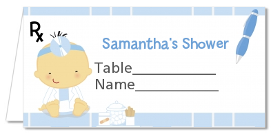 Little Doctor On The Way - Personalized Baby Shower Place Cards Caucasian