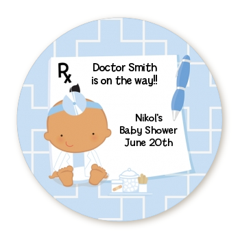 Little Doctor On The Way - Round Personalized Baby Shower Sticker Labels Caucasian