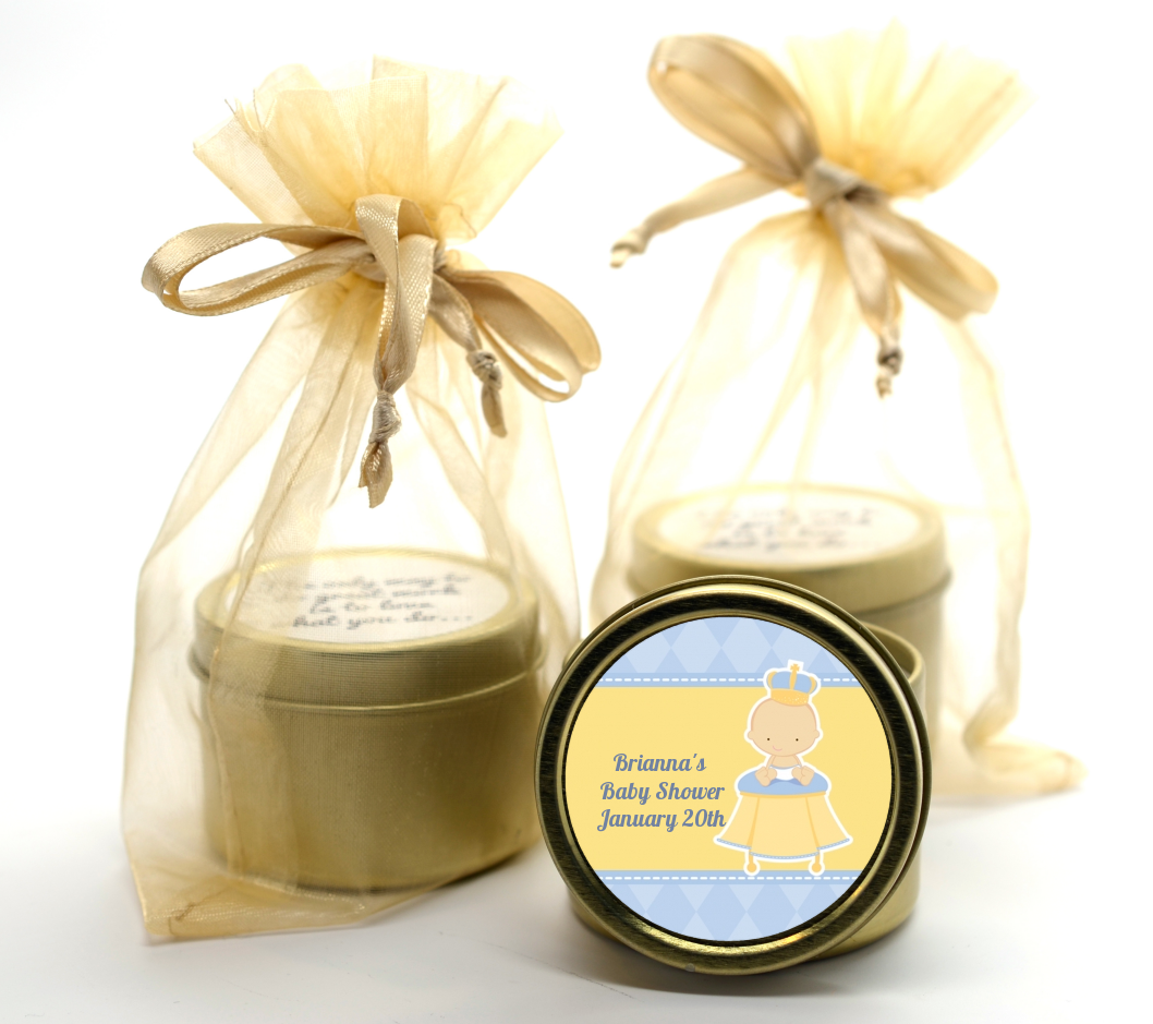Little Prince Gold Tin Candle Favors | Candles & Favors