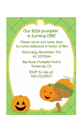 Little Pumpkin African American - Birthday Party Petite Invitations