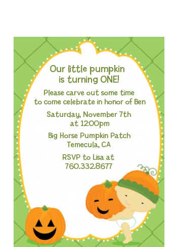 Little Pumpkin Asian - Birthday Party Petite Invitations Asain