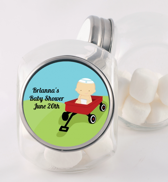 Little Red Wagon - Personalized Baby Shower Candy Jar African American
