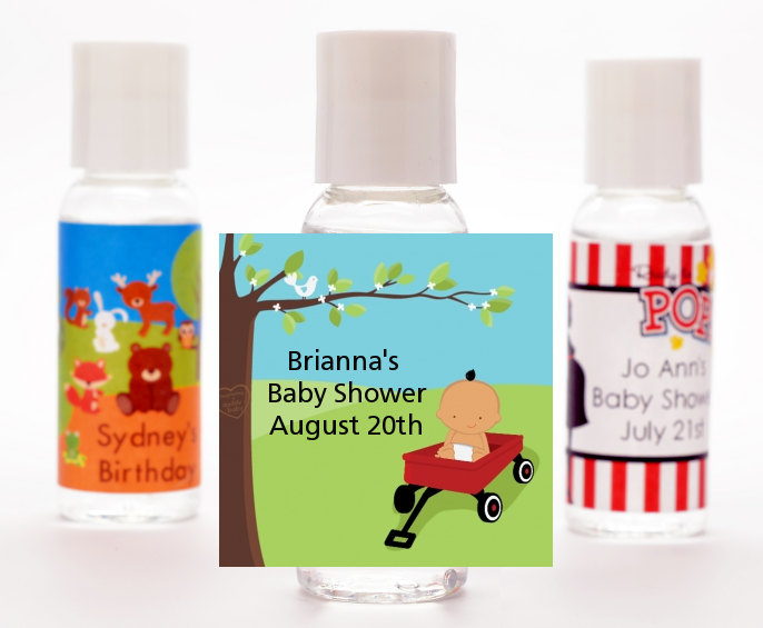 Little Red Wagon - Personalized Baby Shower Hand Sanitizers Favors African American