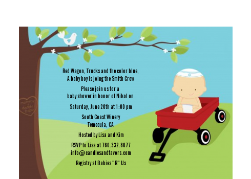 Little Red Wagon - Baby Shower Petite Invitations African American
