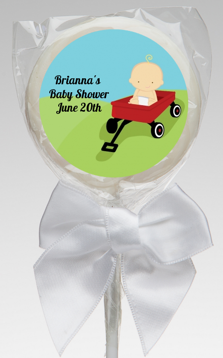 Little Red Wagon - Personalized Baby Shower Lollipop Favors African American
