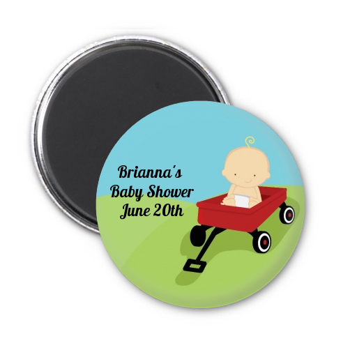 Little Red Wagon - Personalized Baby Shower Magnet Favors African American
