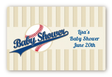 Little Slugger Baseball - Baby Shower Landscape Sticker/Labels