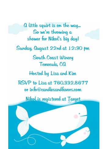 Little Squirt Whale - Baby Shower Petite Invitations