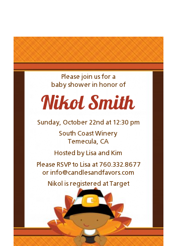 Little Turkey Boy - Baby Shower Petite Invitations African American