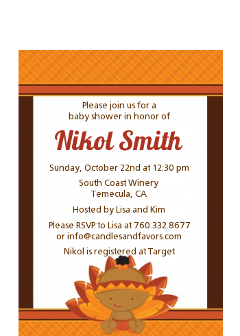 Little Turkey Girl - Baby Shower Petite Invitations African American