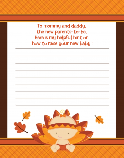 Little Turkey Girl - Baby Shower Notes of Advice
