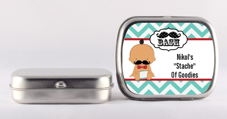 Little Man Mustache - Personalized Baby Shower Mint Tins African American