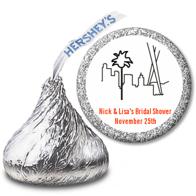 Los Angeles Skyline - Hershey Kiss Bridal Shower Sticker Labels
