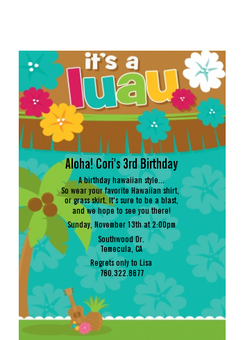 Luau Friends - Birthday Party Petite Invitations