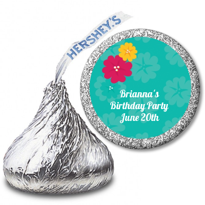 Luau - Hershey Kiss Birthday Party Sticker Labels