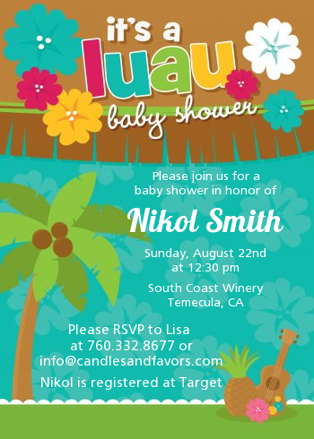 Luau baby shower invitations candles and favors luau baby shower invitations baby shower filmwisefo
