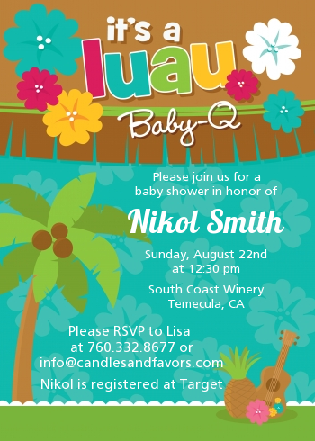 Luau Baby Shower Invitations Candles And Favors