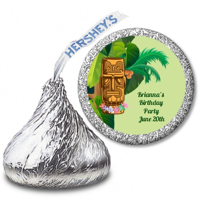 Luau Tiki - Hershey Kiss Birthday Party Sticker Labels