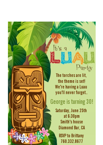 Luau Tiki - Birthday Party Petite Invitations