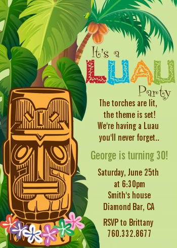 luau tiki birthday party invitations | candles and favors, Party invitations
