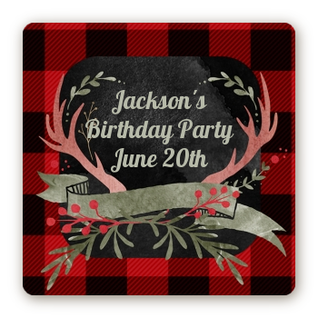 Lumberjack Buffalo Plaid - Square Personalized Birthday Party Sticker Labels