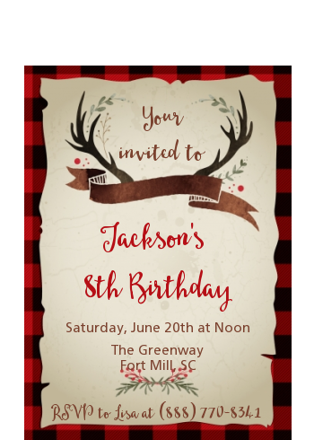 Lumberjack Buffalo Plaid - Birthday Party Petite Invitations