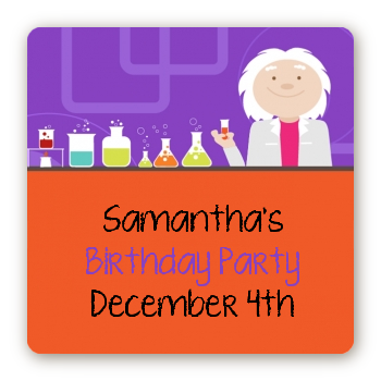 Mad Scientist - Square Personalized Birthday Party Sticker Labels