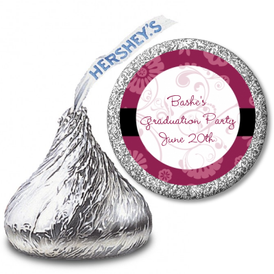 Maroon Floral - Hershey Kiss Graduation Party Sticker Labels