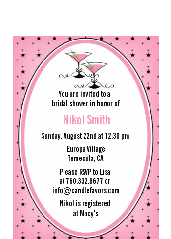 Martini Glasses - Bridal Shower Petite Invitations