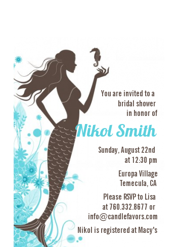 Mermaid - Bridal Shower Petite Invitations Brown & Teal