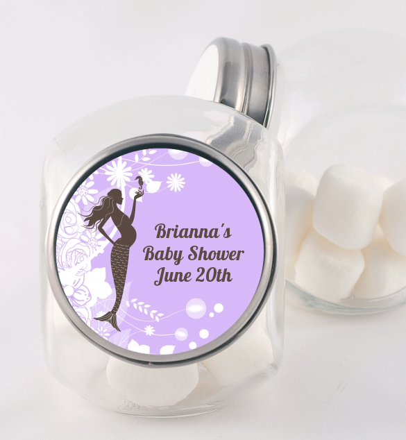 Mermaid Pregnant - Personalized Baby Shower Candy Jar Aqua