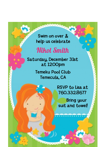 Mermaid Red Hair - Birthday Party Petite Invitations