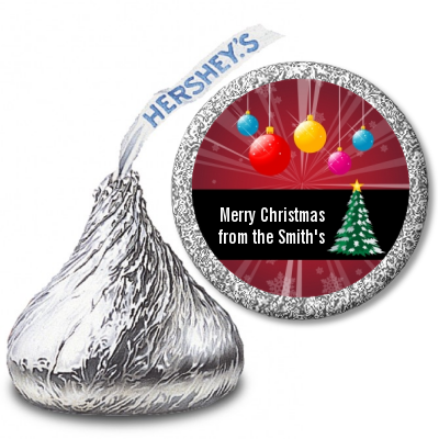 Merry and Bright - Hershey Kiss Christmas Sticker Labels