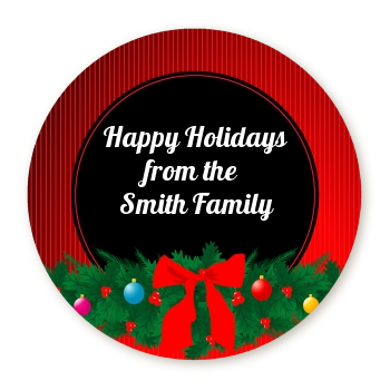 Merry Christmas Wreath - Round Personalized Christmas Sticker Labels