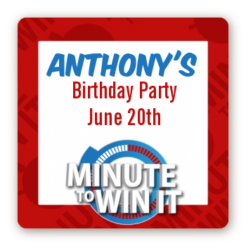 Minute To Win It Inspired - Square Personalized Birthday Party Sticker Labels