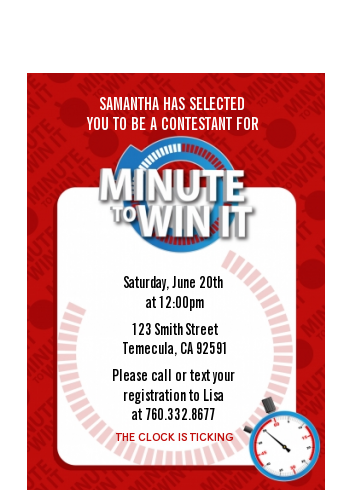 Minute To Win It Inspired - Birthday Party Petite Invitations Option 1