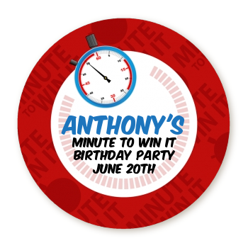 Minute To Win It Inspired - Round Personalized Birthday Party Sticker Labels