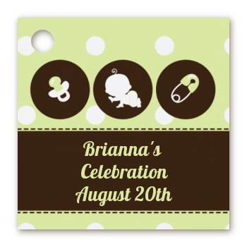 Modern Baby Green Polka Dots - Personalized Baby Shower Card Stock Favor Tags
