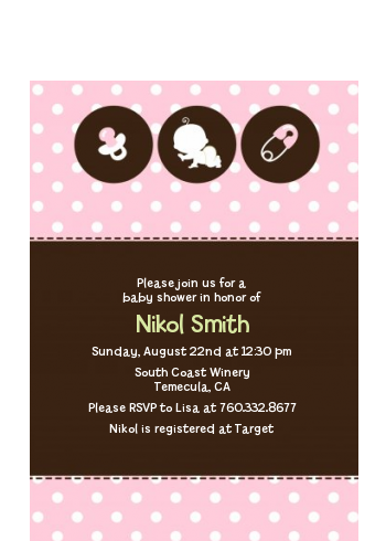 Modern Baby Green Polka Dots - Baby Shower Petite Invitations Blue
