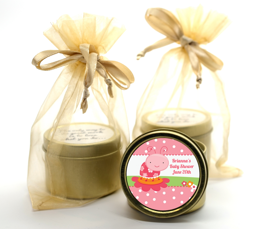 Modern Ladybug Pink Gold Tin Candle Favors | Candles & Favors