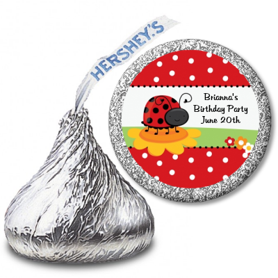 Modern Ladybug Red - Hershey Kiss Baby Shower Sticker Labels