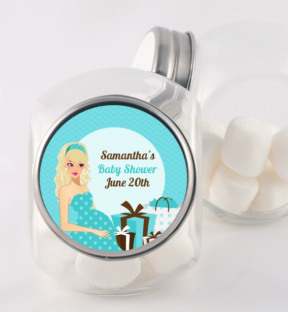 Modern Mommy Crib It's A Boy - Personalized Baby Shower Candy Jar Black Hair A