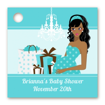 Modern Mommy Crib It's A Boy - Personalized Baby Shower Card Stock Favor Tags Black Hair A