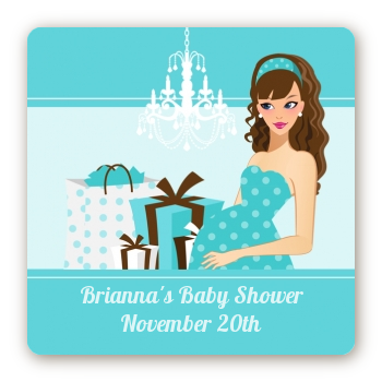 Modern Mommy Crib It's A Boy - Square Personalized Baby Shower Sticker Labels Black Hair A