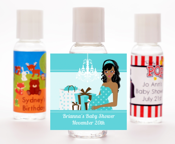 Modern Mommy Crib It's A Boy - Personalized Baby Shower Hand Sanitizers Favors Black Hair A